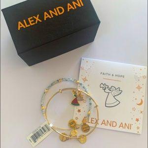 """Brand New Set of 2 Alex & Ani Christmas Angel """"Faith & Hope"""" Bangle Bracelets 🎄"""